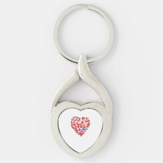 Rojo de Colorado del mosaico del corazón de los Llavero Plateado En Forma De Corazón