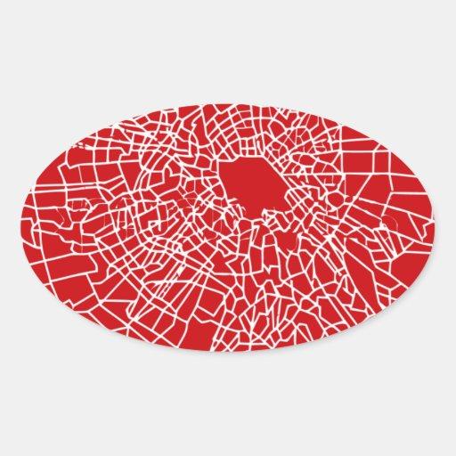 Rojo de cristal quebrado pegatina ovalada