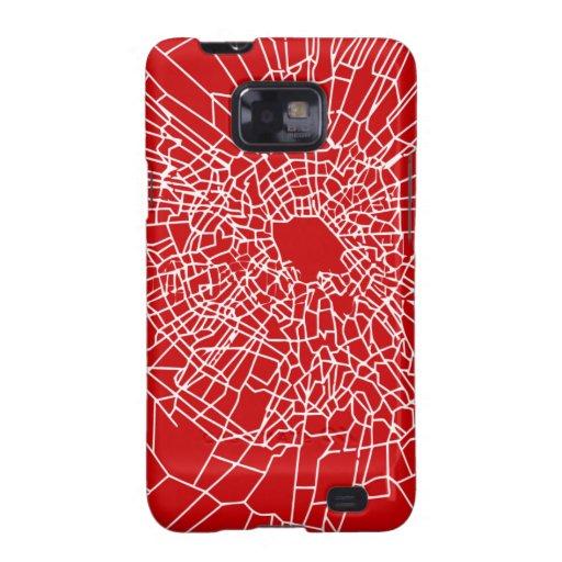Rojo de cristal quebrado samsung galaxy s2 fundas