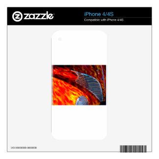 Rojo de cromo clásico de la pintura de la llama calcomanías para el iPhone 4