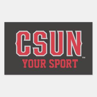 Rojo de CSUN - modifique su deporte para Pegatina Rectangular