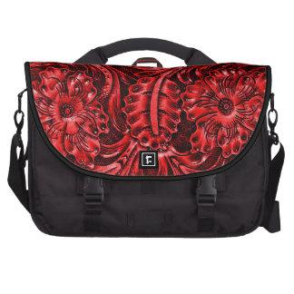 Rojo de cuero equipado rústico de la mirada el   bolsas de ordenador