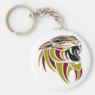 Rojo de DK y cabeza del tigre del oro Llavero Redondo Tipo Pin