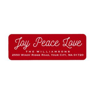 Rojo de encargo del amor de la paz de la alegría etiquetas de remite