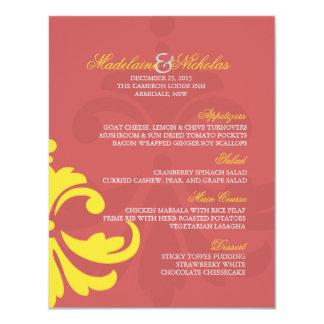 """Rojo de encargo del añil y boda amarillo del invitación 4.25"""" x 5.5"""""""