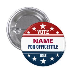 Rojo de encargo del botón de la campaña, azul pin redondo de 1 pulgada