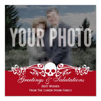 Rojo de encargo del día de fiesta de la foto del comunicado personalizado