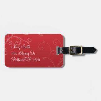 Rojo de encargo del monograma de los remolinos ele etiqueta de equipaje
