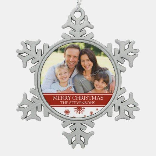 Rojo de encargo del ornamento del navidad de la adorno de peltre en forma de copo de nieve