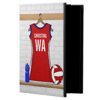 Rojo de encargo del uniforme del Netball con azul