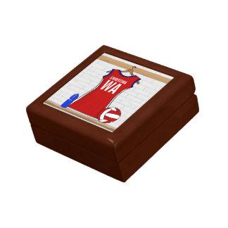 Rojo de encargo del uniforme del Netball con azul  Caja De Joyas