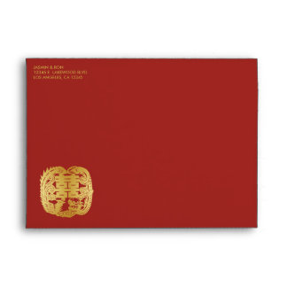 Rojo de encargo y felicidad doble china del oro sobre