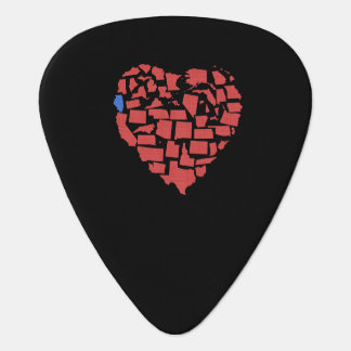 Rojo de Illinois del mosaico del corazón de los Púa De Guitarra