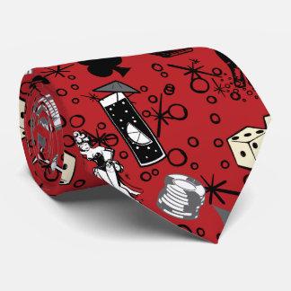 Rojo de juego retro del casino de Viva Vegas Corbata Personalizada