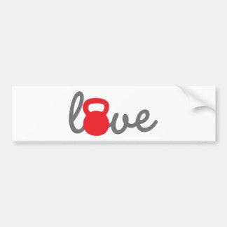 Rojo de Kettlebell del amor Etiqueta De Parachoque
