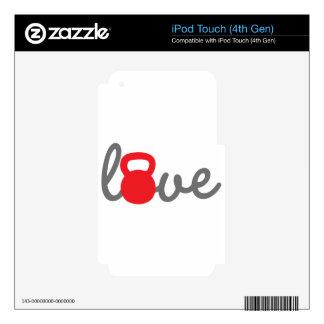 Rojo de Kettlebell del amor Calcomanías Para iPod Touch 4G