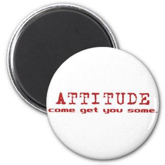 Rojo de la actitud imán redondo 5 cm