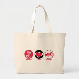 Rojo de la alegría del amor de la paz bolsa tela grande
