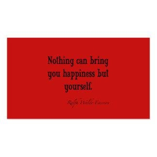 Rojo de la amapola de la cita de la felicidad de tarjetas de visita