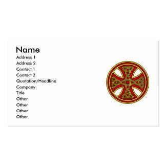 Rojo de la armadura del doble de la cruz céltica tarjetas de visita