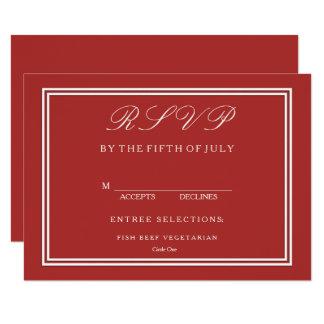 """Rojo de la aurora con el detalle blanco del boda invitación 4.5"""" x 6.25"""""""