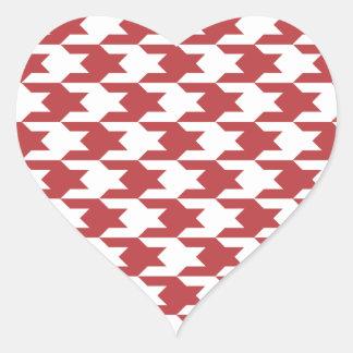 Rojo de la aurora del modelo 1 de Houndstooth Pegatina En Forma De Corazón