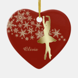 Rojo de la bailarina del copo de nieve del oro adorno navideño de cerámica en forma de corazón