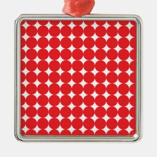 Rojo de la bola adorno navideño cuadrado de metal