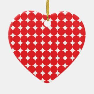 Rojo de la bola adorno navideño de cerámica en forma de corazón