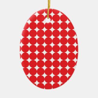 Rojo de la bola adorno navideño ovalado de cerámica