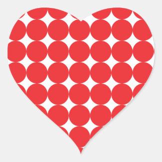 Rojo de la bola pegatina en forma de corazón