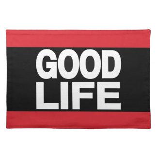 Rojo de la buena vida de largo mantel individual