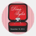 Rojo de la caja del anillo de Bling del diamante Etiqueta