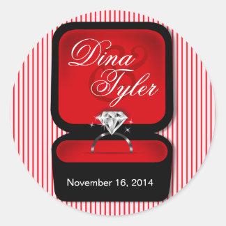 Rojo de la caja del anillo de Bling del diamante Pegatina Redonda