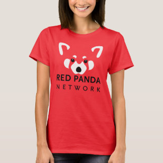 Rojo de la camiseta de las mujeres de la panda