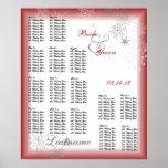 Rojo de la carta del asiento del boda del copo de  posters