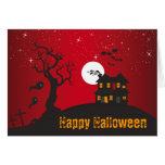 Rojo de la casa encantada del feliz Halloween Felicitaciones