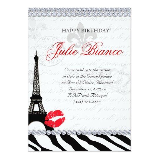 """Rojo de la cebra de la torre Eiffel de la tarjeta Invitación 5"""" X 7"""""""