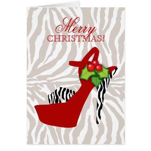 Rojo de la cebra del zapato del tacón alto de tarjeta de felicitación