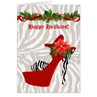 Rojo de la cebra del zapato del tacón alto del tarjeta de felicitación
