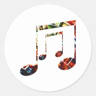 Rojo de la chispa de la música pegatina redonda