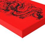 Rojo de la cólera de los dragones impresiones en lona estiradas