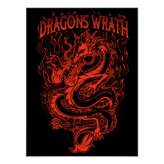 Rojo de la cólera de los dragones póster