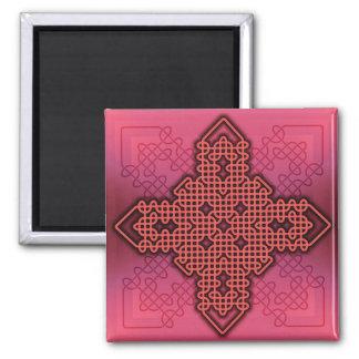 Rojo de la cruz céltica 10 iman de nevera