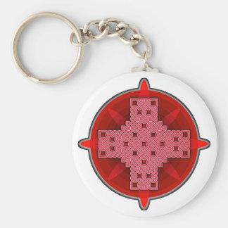 Rojo de la cruz céltica 4 llaveros personalizados