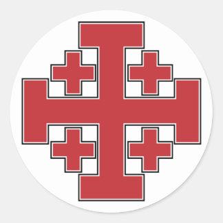 Rojo de la cruz de Jerusalén Pegatinas Redondas