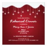 Rojo de la decoración del copo de nieve de la cena invitación personalizada