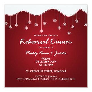Rojo de la decoración del copo de nieve de la cena invitación 13,3 cm x 13,3cm