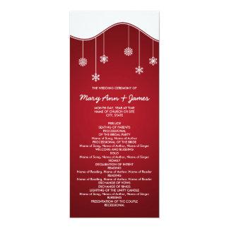 """Rojo de la decoración del copo de nieve del invitación 4"""" x 9.25"""""""
