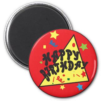 Rojo de la diversión el | del confeti del feliz imán redondo 5 cm
